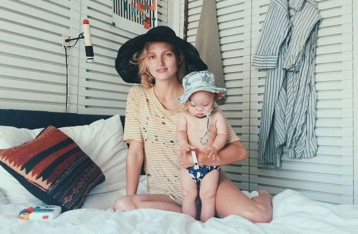Modelka pozuje ze swoim małym synkiem z zespołem Downa