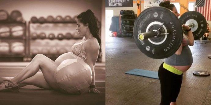 Ćwiczy podnoszenie ciężarów w 38 tygodniu ciąży