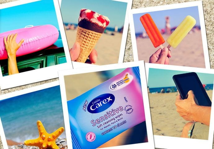 Zawartość plażowej kosmetyczki